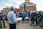 August 13, 2017; Following mass University of Notre Dame President Rev. John I. Jenkins, C.S.C., gives a blessing before the pilgrims walked the first two miles of ND Trail to Kimmell Park in Vincennes, Indiana.<br />