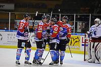 IJSHOCKEY: HEERENVEEN: 14-12-2013, IJsstadion Thialf, UNIS Flyers - Dordrecht Lions, uitslag 10-0, Nick Kuiper (#37 | Flyers), Mark Hoekstra (#52 | Flyers), Sander Dijkstra (#5 | Flyers), Brent Janssen (#10 | Flyers), Aldo van Aalderen (#11 | Flyers), ©foto Martin de Jong