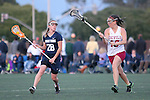 Santa Barbara, CA 02/18/12 - Danielle DeWaal (BYU #28), Sandra Syntax (Arizona State #16) in action during the Arizona State vs BYU matchup at the 2012 Santa Barbara Shootout.  BYU defeated Arizona State 10-8.