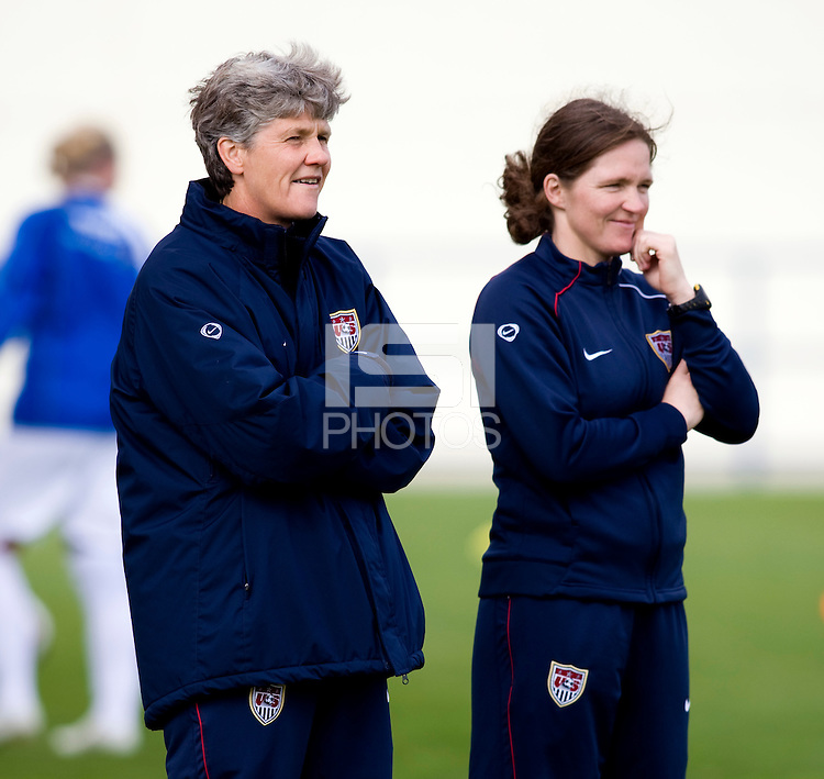 Pia Sundhage, Hege Riise.  The USWNT defeated Iceland, 1-0, at Ferreiras, Portugal.