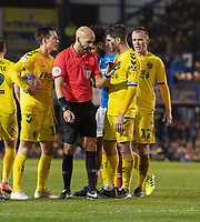 Fleetwood Town's Captain Ched Evans (right) discussing free kick with referee Darren Drysdale (cnetre)<br /> <br /> Photographer David Horton/CameraSport<br /> <br /> The EFL Sky Bet League One - Portsmouth v Fleetwood Town - Tuesday 10th March 2020 - Fratton Park - Portsmouth<br /> <br /> World Copyright © 2020 CameraSport. All rights reserved. 43 Linden Ave. Countesthorpe. Leicester. England. LE8 5PG - Tel: +44 (0) 116 277 4147 - admin@camerasport.com - www.camerasport.com