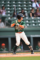 Second baseman Luis Pintor (8) of the Greensboro Grasshoppers bats in a game against the Greenville Drive on Tuesday, April 25, 2017, at Fluor Field at the West End in Greenville, South Carolina. Greenville won, 5-1. (Tom Priddy/Four Seam Images)