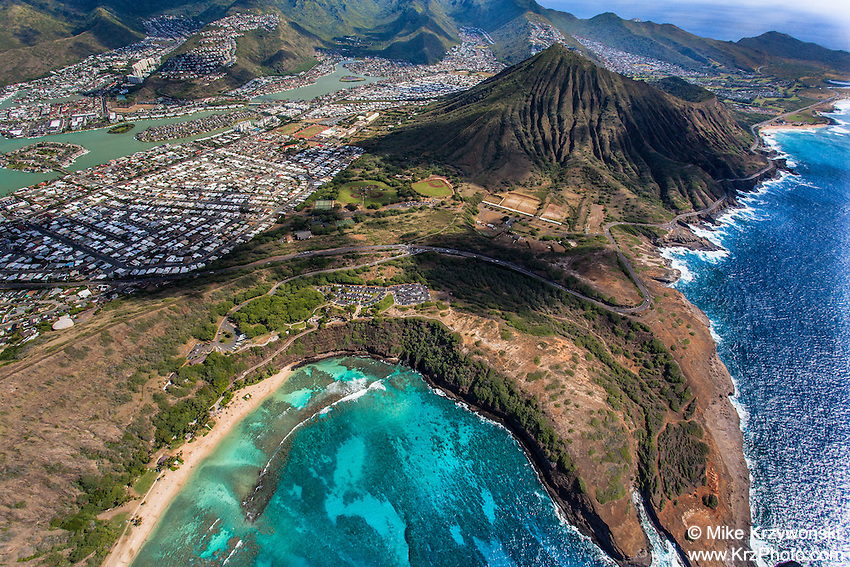 Aerial view of Hawaii Kai behind Hanauma Bay, Oahu