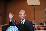 Chicago Mayor Rahm Emanuel addresses the public in a speech at his inauguration ceremony in Millennium Park in Chicago, Illinois on May 16, 2011.