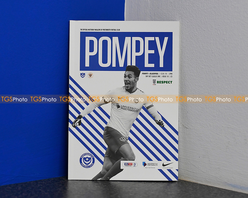 Andre Green of Portsmouth on the front of the match day programme during Portsmouth vs Blackpool, Sky Bet EFL League 1 Football at Fratton Park on 12th January 2019