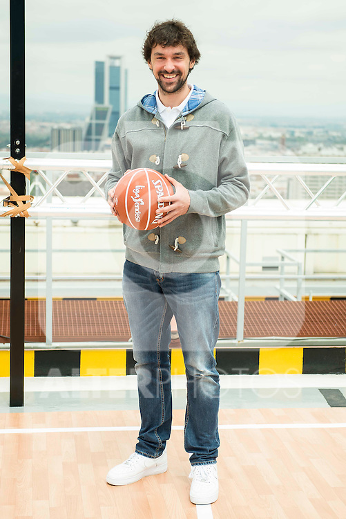 "Real Madrid baskeball player Sergio Llull during the presentation of the film ""Angry Birds"" at the Flat Roof of Torre Picasso in Madrid. April 29,2016. (ALTERPHOTOS/Borja B.Hojas)"