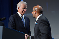 January 17, 2013  (Washington, DC)  Vice President Joseph Biden and Philadelphia Mayor Michael Nutter shake hands at the 81st Annual Winter Meeting of the U.S. Conference of Mayors in Washington.   (Photo by Don Baxter/Media Images International)