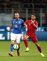 Football: Uefa Nations League Group 3match Italy vs Portugal at Giuseppe Meazza (San Siro) stadium in Milan, on November 17, 2018.<br /> Italy's Leonardo Bonucci (l) in action with Portugal's Andr&eacute; Silva (r) during the Uefa Nations League match between Italy and Portugal at Giuseppe Meazza (San Siro) stadium in Milan, on November 17, 2018.<br /> UPDATE IMAGES PRESS/Isabella Bonotto