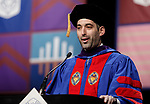 Corey Celt, student speaker, addressed fellow classmates at DePaul University College of Law commencement ceremony Sunday, May 14, 2017, at the Rosemont Theatre in Rosemont, IL. Celt served as president of the Student Bar Association at DePaul. Some 240 students received their Juris Doctors or Master of Laws degrees. (DePaul University/Jeff Carrion)