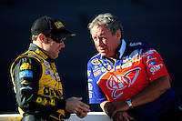 Nov. 7, 2008; Avondale, AZ, USA; NASCAR Sprint Cup Series driver Matt Kenseth (left) talks with Jimmy Fenning during qualifying for the Checker Auto Parts 500 at Phoenix International Raceway. Mandatory Credit: Mark J. Rebilas-