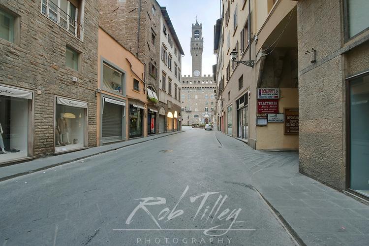 Europe, Italy, Tuscany, Florence, Palazzo Vecchio From Via de Castellanni
