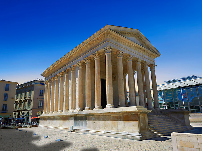 Exterior of the Maison Carrée, a ancient Roman temple built around 4-7 AD and dedicated to Julius Caesar, the best preserved example of a Roman temple,  Nimes, France