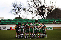 The Manawatu team huddle after the win during the Air NZ Cup rugby match between Manawatu Turbos and Counties-Manukau Steelers at FMG Stadium, Palmerston North, New Zealand on Sunday, 2 August 2009. Photo: Dave Lintott / lintottphoto.co.nz