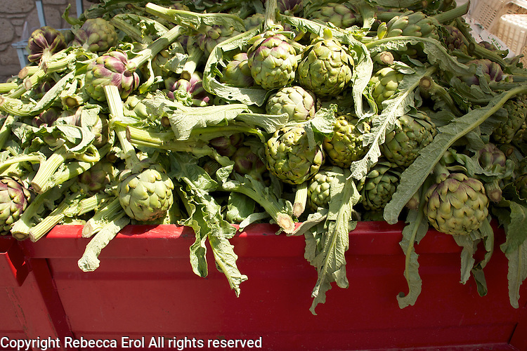 Artichokes for sale in Alacati's weekly market, Turkey