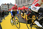 Stijn Devolder (BEL) and Dutch National Champion Mathieu Van Der Poel (NED) Corendon-Circus at the team presentation in Antwerp before the start of the 2019 Ronde Van Vlaanderen 270km from Antwerp to Oudenaarde, Belgium. 7th April 2019.<br /> Picture: Eoin Clarke | Cyclefile<br /> <br /> All photos usage must carry mandatory copyright credit (&copy; Cyclefile | Eoin Clarke)