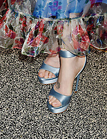 LOS ANGELES, CA - JUNE 08: Lily Collins (shoe, tattoo detail), at the Les Misérables Photo Call at Linwood Dunn Theater on June 08, 2019 in Los Angeles, California.<br /> CAP/ROT/TM<br /> ©TM/ROT/Capital Pictures