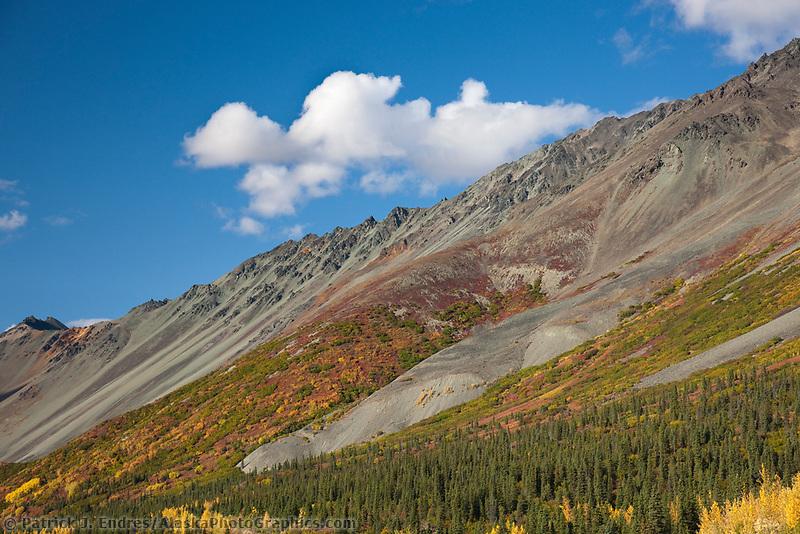 "Vibrant fall colors along the Alaska Range mountain ridge named ""Rainbow Mountain"", Interior, Alaska."