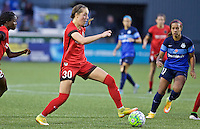 Portland, Oregon - Saturday July 9, 2016: Portland Thorns FC midfielder Celeste Boureille (30) controls the ball during a regular season National Women's Soccer League (NWSL) match at Providence Park.