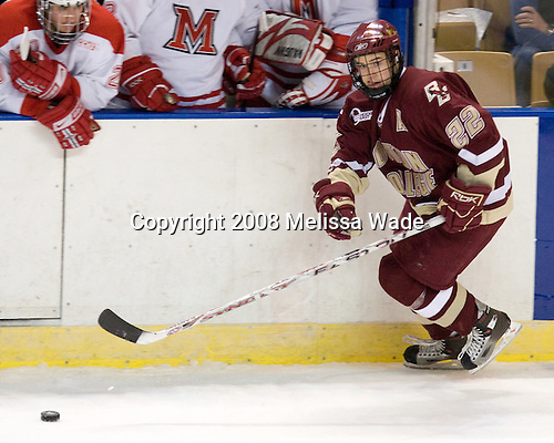 Dan Bertram (BC - 22) - The Boston College Eagles defeated the Miami University RedHawks 4-3 in overtime on Sunday, March 30, 2008 in the NCAA Northeast Regional Final at the DCU Center in Worcester, Massachusetts.