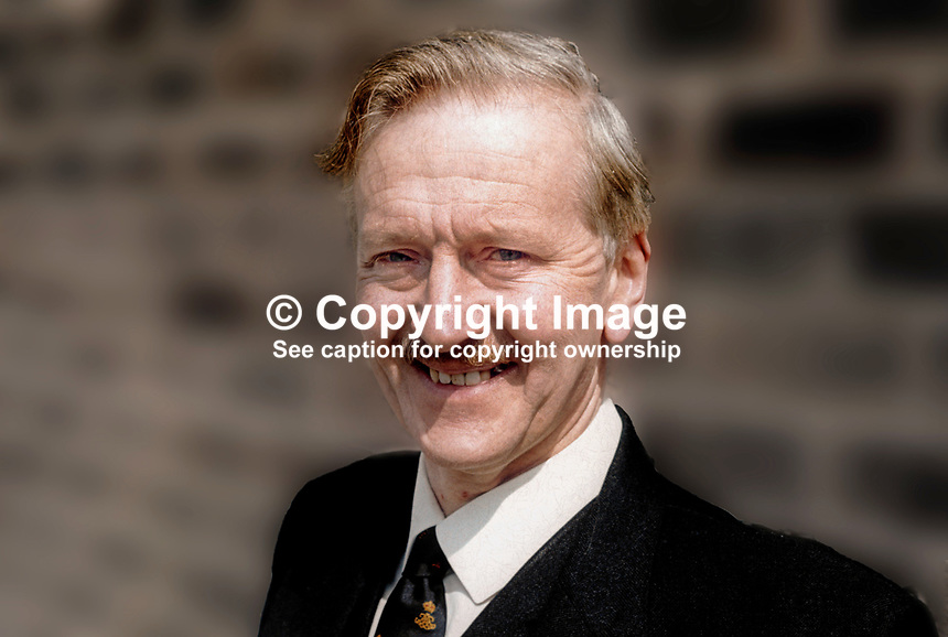 Louis Gardiner, secretary, Ulster Vanguard Movement, N Ireland, a political grouping, May, 1972, 197205000304<br /> <br /> Copyright Image from Victor Patterson, 54 Dorchester Park, <br /> Belfast, UK, BT9 6RJ<br /> <br /> t1: +44 28 9066 1296 (from Rep of Ireland 048 9066 1296)<br /> t2: +44 28 9002 2446 (from Rep of Ireland 048 9002 2446)<br /> m: +44 7802 353836<br /> <br /> e1: victorpatterson@me.com<br /> e2: victorpatterson@gmail.com<br /> www.victorpatterson.com<br /> <br /> Please see my Terms and Conditions of Use at www.victorpatterson.com. It is IMPORTANT that you familiarise yourself with them.<br /> <br /> Images used on the Internet must be visibly watermarked i.e. &copy; Victor Patterson<br /> within the body of the image and copyright metadata must not be deleted. Images <br /> used on the Internet have a size restriction of 4kbs and will be chargeable at current<br />  NUJ rates unless agreed otherwise.<br /> <br /> This image is only available for the use of the download recipient i.e. television station, newspaper, magazine, book publisher, etc, and must not be passed on to any third <br /> party. It is also downloaded on condition that each and every usage is notified within 7 days to victorpatterson@me.com<br /> <br /> The right of Victor Patterson to be identified as the author is asserted in accordance with The Copyright Designs And Patents Act (1988).