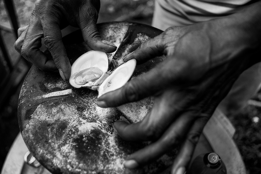 Daufuskie Island native Al Smith opens a freshly steamed clam in his front yard. Like most of the Gullah, Smith lives off of the sea and the land as much as possible.