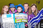 Darya O'Connell, Chloe O'Connor, Nicole Downes, Anita McCArthy and Ciara McCarthy Castleisland Desmonds fans at the Celebrity Bainisteoir final at Parnell park on Friday night.