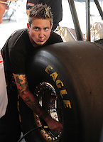 Jun. 3, 2012; Englishtown, NJ, USA: Crew member for NHRA top fuel dragster driver Steve Torrence during the Supernationals at Raceway Park. Mandatory Credit: Mark J. Rebilas-