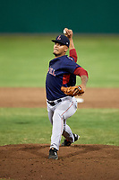 Lowell Spinners relief pitcher Francisco Lopez-Soto (49) delivers a pitch during game against the Batavia Muckdogs on July 14, 2018 at Dwyer Stadium in Batavia, New York.  Lowell defeated Batavia 8-4.  (Mike Janes/Four Seam Images)