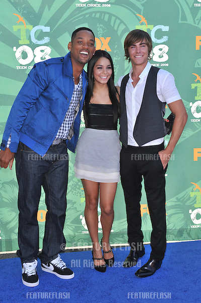 Will Smith (left) & Vanessa Anne Hudgens & Zac Efron at the 2008 Teen Choice Awards at Universal Studios, Hollywood. .August 3, 2008  Los Angeles, CA..Picture: Paul Smith / Featureflash
