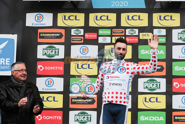 Jonathan Hivert (FRA) Total Direct Energie retains the Polka Dot Jersey on the podium at the end of Stage 3 of the 78th edition of Paris-Nice 2020, running 212.5km from Chalette-sur-Loing to La Chatre, France. 10th March 2020.<br /> Picture: ASO/Fabien Boukla | Cyclefile<br /> All photos usage must carry mandatory copyright credit (© Cyclefile | ASO/Fabien Boukla)