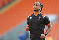 Blackpool's Nathan Delfouneso during the pre-match warm-up <br /> <br /> Photographer Kevin Barnes/CameraSport<br /> <br /> The Carabao Cup First Round - Blackpool v Macclesfield Town - Tuesday 13th August 2019 - Bloomfield Road - Blackpool<br />  <br /> World Copyright © 2019 CameraSport. All rights reserved. 43 Linden Ave. Countesthorpe. Leicester. England. LE8 5PG - Tel: +44 (0) 116 277 4147 - admin@camerasport.com - www.camerasport.com