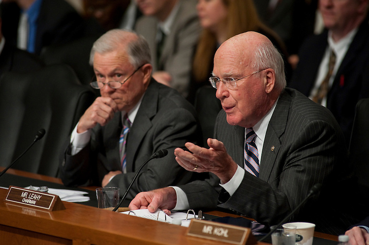 WASHINGTON, DC - June 29: Ranking member Jeff Sessions, R-Ala., and Chairman Patrick J. Leahy, D-Vt., during the Senate Judiciary nomination hearing for President Obama's U.S. Supreme Court nominee Elena Kagan. (Photo by Scott J. Ferrell/Congressional Quarterly)