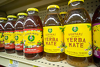 Bottles of Guayaki brand Yerba mate drink on a supermarket shelf on Thursday, June 19, 2014. The beverage contains caffeine and is drunk similarly to tea. (© Richard B. Levine)