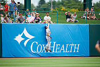 San Antonio Missions left fielder Nick Torres (11) leaps at the wall to try to make a catch during a game against the Springfield Cardinals on June 4, 2017 at Hammons Field in Springfield, Missouri.  San Antonio defeated Springfield 6-1.  (Mike Janes/Four Seam Images)
