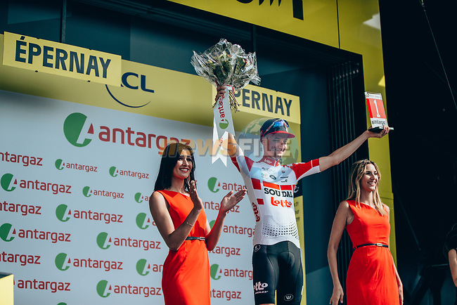 Tim Wellens (BEL) Lotto-Soudal takes over the mountains Polka Dot Jersey and wins the day's combativity prize at the end of Stage 3 of the 2019 Tour de France running 215km from Binche, Belgium to Epernay, France. 8th July 2019.<br /> Picture: ASO/Thomas Maheux | Cyclefile<br /> All photos usage must carry mandatory copyright credit (© Cyclefile | ASO/Thomas Maheux)