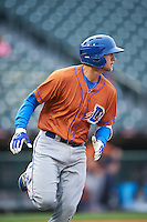 Durham Bulls third baseman Jake Hager (5) runs to first base during a game against the Buffalo Bisons on June 13, 2016 at Coca-Cola Field in Buffalo, New York.  Durham defeated Buffalo 5-0.  (Mike Janes/Four Seam Images)