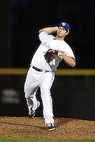 Dunedin Blue Jays  pitcher Blake McFarland (24) delivers a pitch during a game against the Brevard County Manatees on April 11, 2014 at Florida Auto Exchange Stadium in Dunedin, Florida.  Brevard County defeated Dunedin 5-2.  (Mike Janes/Four Seam Images)