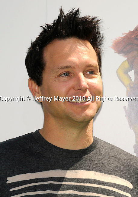 """UNIVERSAL CITY, CA. - May 16: Musician Mark Hoppus of Blink 182 arrives at the """"Shrek Forever After"""" Los Angeles Premiere at Gibson Amphitheatre on May 16, 2010 in Universal City, California."""