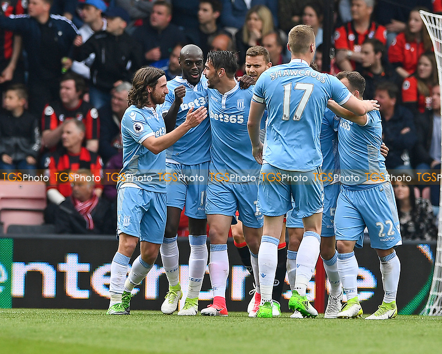 Stoke City players celebrate their goal during AFC Bournemouth vs Stoke City, Premier League Football at the Vitality Stadium on 6th May 2017