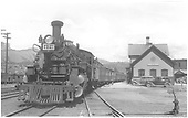 Front view of K-28 #470 at Durango station.<br /> D&amp;RGW  Durango, CO  Taken by Graham, Robert B. - 8/31/1938
