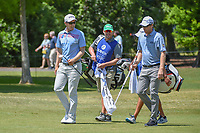 Seamus Power (IRL) shares a laugh with David Hearn (CAN) as they head down 1 during Round 2 of the Zurich Classic of New Orl, TPC Louisiana, Avondale, Louisiana, USA. 4/27/2018.<br /> Picture: Golffile | Ken Murray<br /> <br /> <br /> All photo usage must carry mandatory copyright credit (&copy; Golffile | Ken Murray)