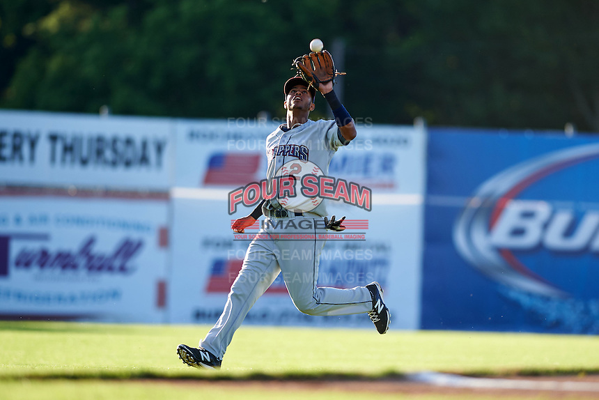 Mahoning Valley Scrappers second baseman Willi Castro (2) catches a pop up during a game against the Batavia Muckdogs on June 23, 2015 at Dwyer Stadium in Batavia, New York.  Mahoning Valley defeated Batavia 11-2.  (Mike Janes/Four Seam Images)