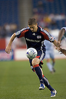 New England Revolution midfielder Chris Tierney (8) traps ball and moves forward. The New England Revolution tied the Colorado Rapids, 1-1, at Gillette Stadium on May 16, 2009.