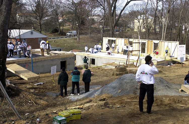 "19hfh030701 -- The grounds of a Habitat for Humanity event the""U.S. Senators Build"", in which Senators, from both sides, and their spouses worked on raising two house in Capitol Heights, MD."