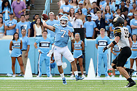 CHAPEL HILL, NC - SEPTEMBER 21: Sam Howell #7 of the University of North Carolina throws a pass during a game between Appalachian State University and University of North Carolina at Kenan Memorial Stadium on September 21, 2019 in Chapel Hill, North Carolina.