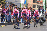 TUNJA - COLOMBIA, 11-02-2020:  Equipo EF EDUCATION FIRST (USA) durante la primera etapa del Tour Colombia 2.1 2020 con un recorrido de 16,7 km CRE, que se corrió con salida y llegada enTunja, Boyacá. / Team EF EDUCATION FIRST (USA) during the first stage of 16,7 km TTT of Tour Colombia 2.1 2020 that ran with start and arrival in Tunja, Boyaca.  Photo: VizzorImage / Darlin Bejarano / Cont
