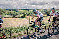 Chris Froome (GBR/SKY) & Geraint Thomas (GBR/SKY) in the peloton<br /> <br /> Racing in/around Lake District National Parc / Cumbria<br /> <br /> Stage 6: Barrow-in-Furness to Whinlatter Pass   (168km)<br /> 15th Ovo Energy Tour of Britain 2018