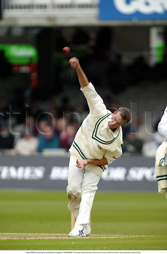 SEAN ERVINE bowling for Zimbabwe, England v ZIMBABWE, First test match, NPower test series, Lord's, 030522. Photo: Steve Bardens/Action Plus...2003.Cricket cricketer cricketers.bowler bowlers.