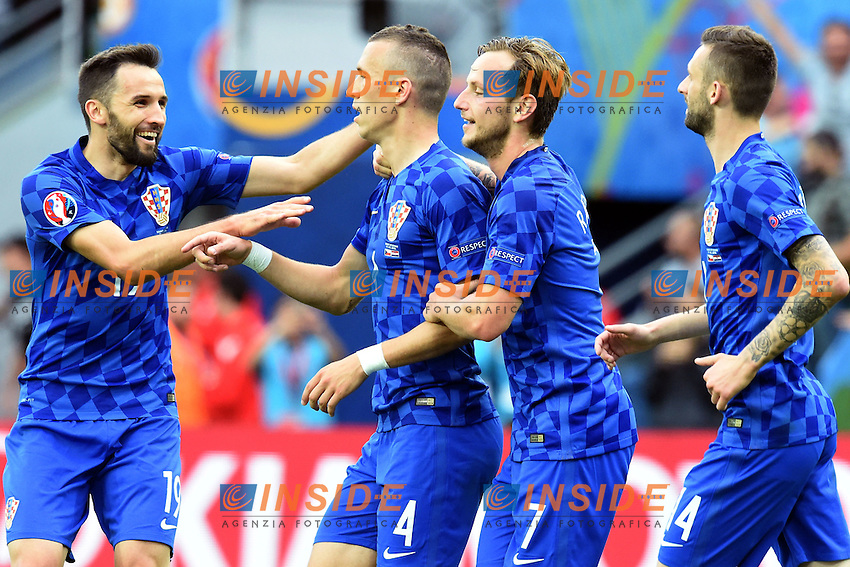 Ivan Perisic Croazia Esultanza Gol <br /> Saint Etienne 17-06-2016 Stade Geoffroy Guichard Football Euro2016 Czech Republic - Croatia / Repubblica Ceca - Croazia Group Stage Group D. Foto Frederic Chambert / Panoramic / Insidefoto