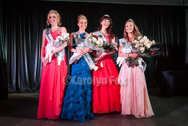 75th Amador County Fair, Plymouth, Calif.<br /> <br /> Miss Amador Scholarship Pageant<br /> <br /> Miss Amador Morgan Graziadei (right) and her court:<br /> <br /> 3rd runner up--Mary Powers, 2nd runner up Bailey Lubenko, 1st runner up Kinsey Prestia-Young